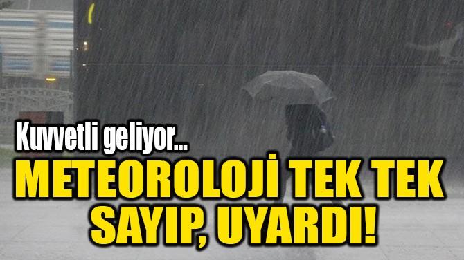 METEOROLOJİ TEK TEK  SAYIP, UYARDI!