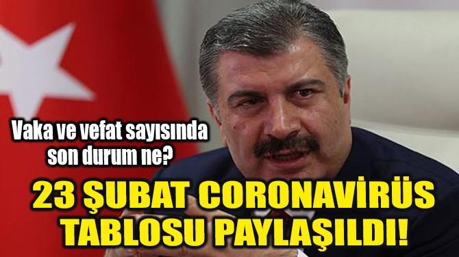 23 ŞUBAT CORONAVİRÜS TABLOSU AÇIKLANDI!