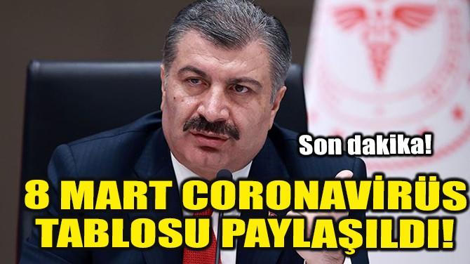 8 MART CORONAVİRÜS TABLOSU PAYLAŞILDI!