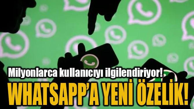 WHATSAPP'A YENİ ÖZELİK!