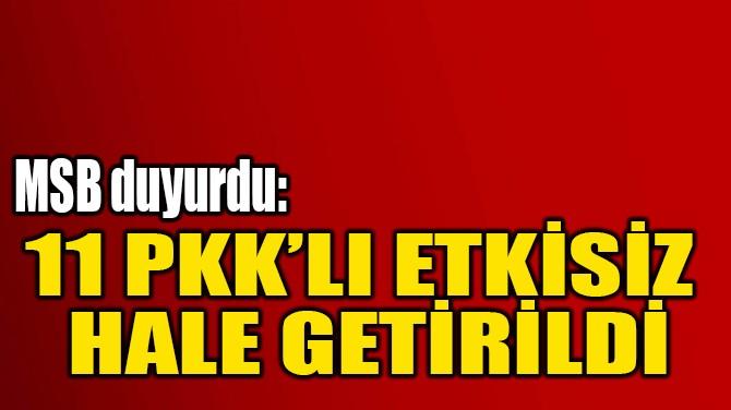 11 PKK'LI ETKİSİZ  HALE GETİRİLDİ