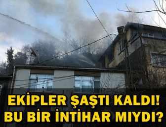 OLAY!.. YANAN EVDEN ÇIKMAK İSTEMEYEN ADAM, EKİPLERE SALDIRDI!..