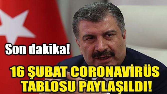 16 ŞUBAT CORONAVİRÜS TABLOSU AÇIKLANDI!