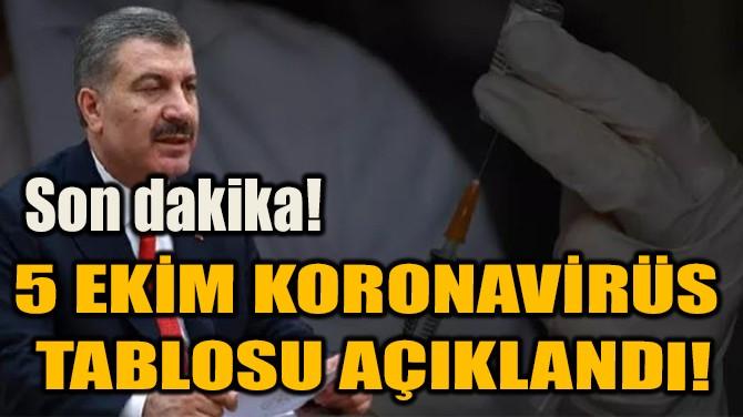 5 EKİM KORONAVİRÜS TABLOSU AÇIKLANDI!