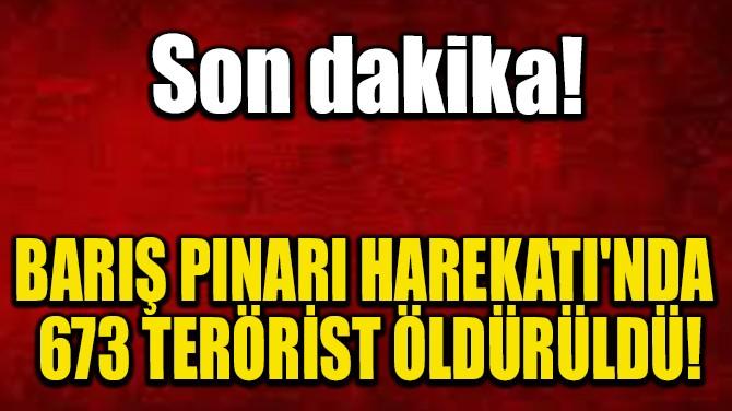 BARIŞ PINARI HAREKATI'NDA 673 TERÖRİST ÖLDÜRÜLDÜ!