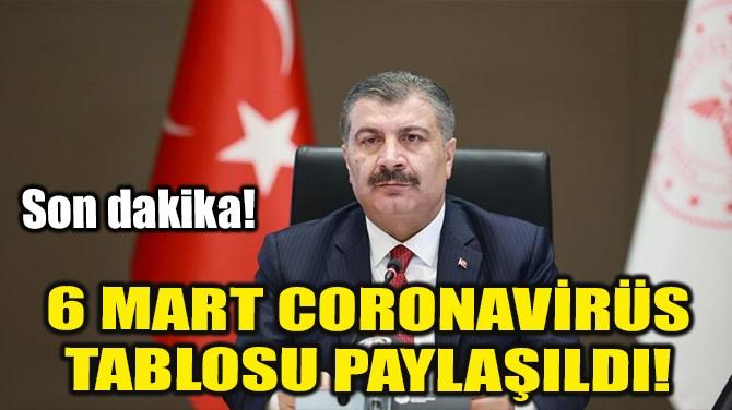 6 MART CORONAVİRÜS TABLOSU PAYLAŞILDI!