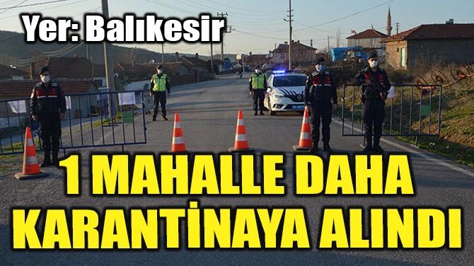 1 MAHALLE DAHA KARANTİNAYA ALINDI