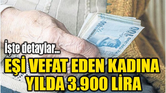 EŞİ VEFAT EDEN KADINA  YILDA 3.900 LİRA