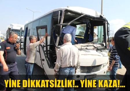 İŞÇİ SERVİSİ İLE KAMYON ÇARPIŞTI!.. YARALILAR VAR!..