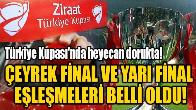 ÇEYREK FİNAL VE YARI FİNAL  EŞLEŞMELERİ BELLİ OLDU!