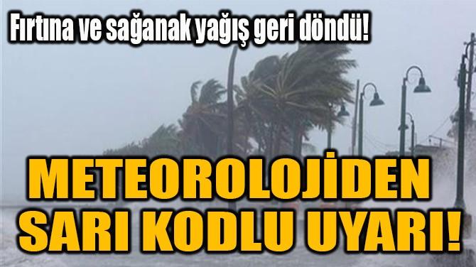 METEOROLOJİDEN   SARI KODLU UYARI!