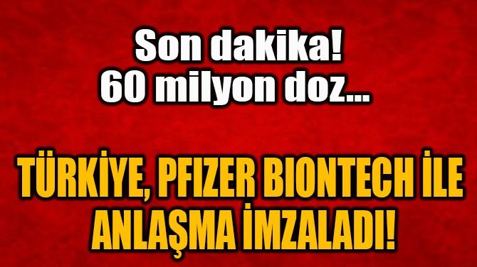 TÜRKİYE, PFIZER BIONTECH İLE  ANLAŞMA İMZALADI!