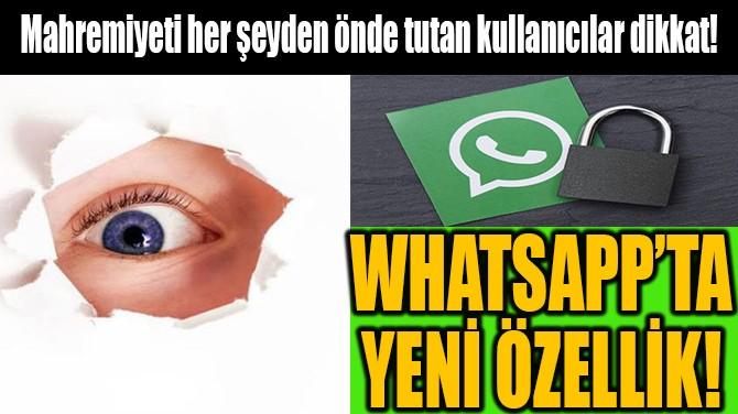WHATSAPP'TA YENİ ÖZELLİK!