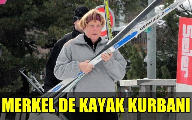 ALMANYA BAŞBAKAN'I ANGELA MERKEL DE KAYAK KURBANI OLDU!