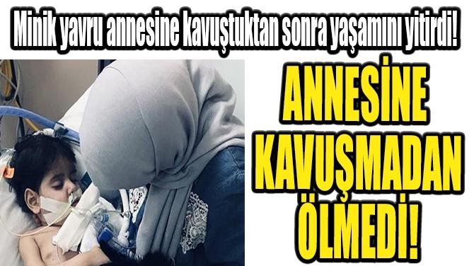 ANNESİNE KAVUŞMADAN ÖLMEDİ!