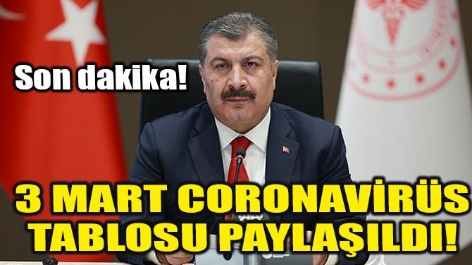 3 MART CORONAVİRÜS TABLOSU PAYLAŞILDI!