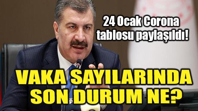 24 OCAK CORONAVİRÜS TABLOSU PAYLAŞILDI!