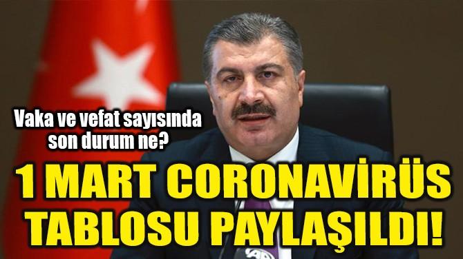 1 MART CORONAVİRÜS TABLOSU PAYLAŞILDI!