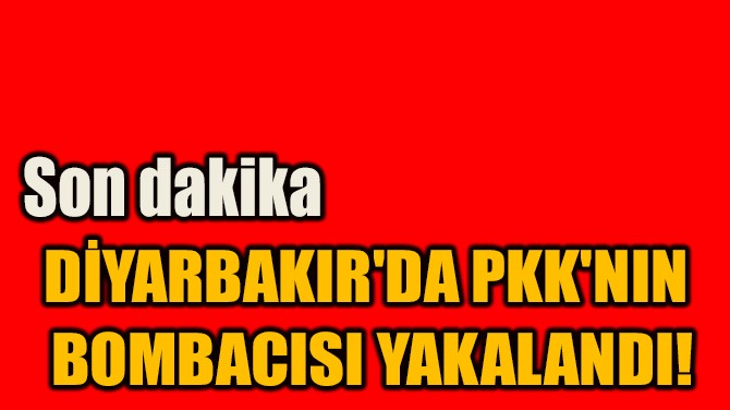 DİYARBAKIR'DA PKK'NIN  BOMBACISI YAKALANDI!
