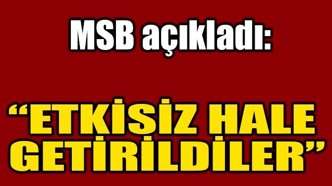 """""""ETKİSİZ HALE  GETİRİLDİLER"""""""