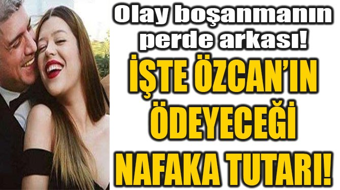 İŞTE ÖZCAN'IN ÖDEYECEĞİ NAFAKA TUTARI!