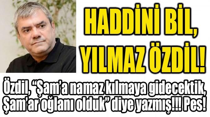 HADDİNİ BİL, YILMAZ ÖZDİL!