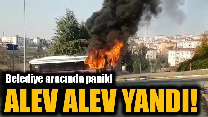 BELEDİYE ARACINDA PANİK! ALEV ALEV YANDI!