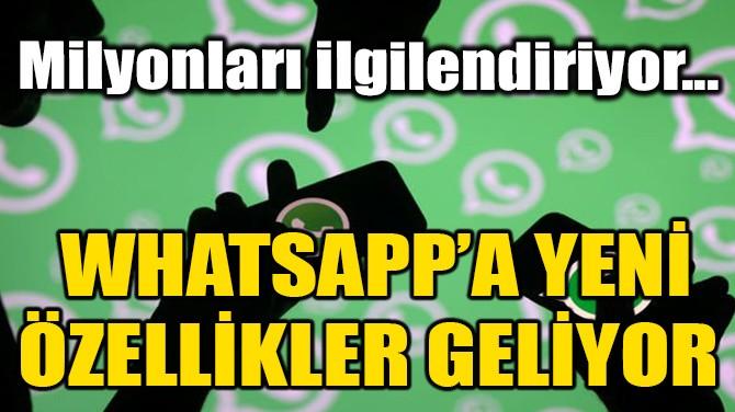 WHATSAPP'A YENİ ÖZELLİKLER GELİYOR!