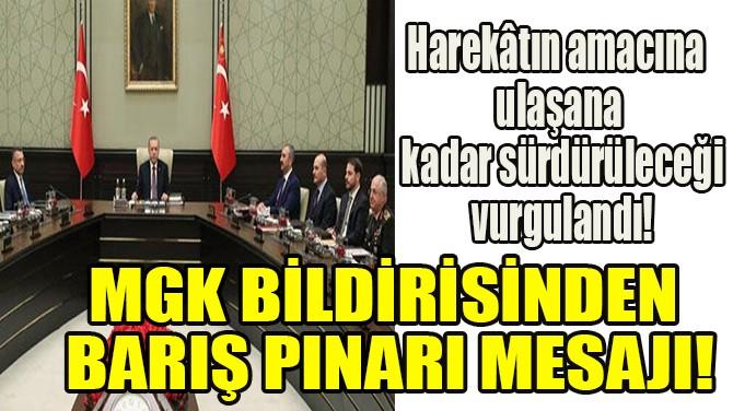 MGK BİLDİRİSİNDEN BARIŞ PINARI MESAJI!