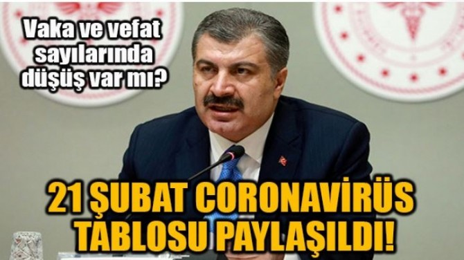 21 ŞUBAT CORONAVİRÜS TABLOSU PAYLAŞILDI!