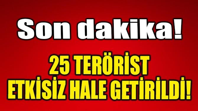 25 TERÖRİST ETKİSİZ HALE GETİRİLDİ!