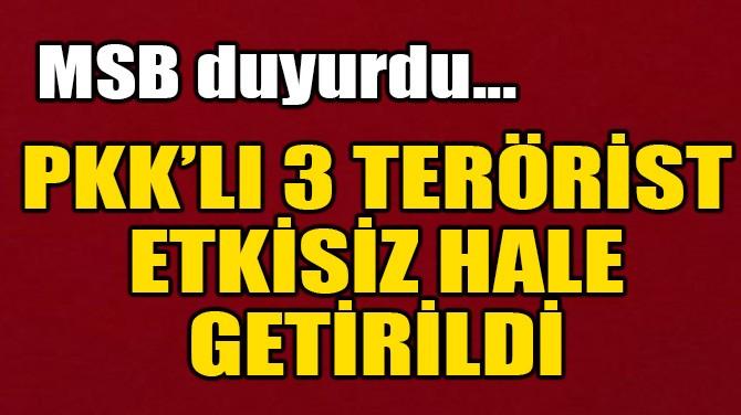 MSB DUYURDU! PKK'LI 3 TERÖRİST ETKİSİZ HALE GETİRİLDİ