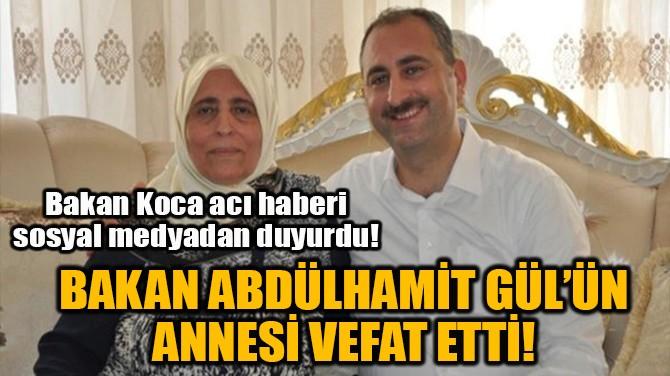 BAKAN ABDÜLHAMİT GÜL'ÜN ANNESİ VEFAT ETTİ!