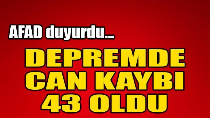 İZMİR'DEKİ DEPREMDE CAN KAYBI 43 OLDU