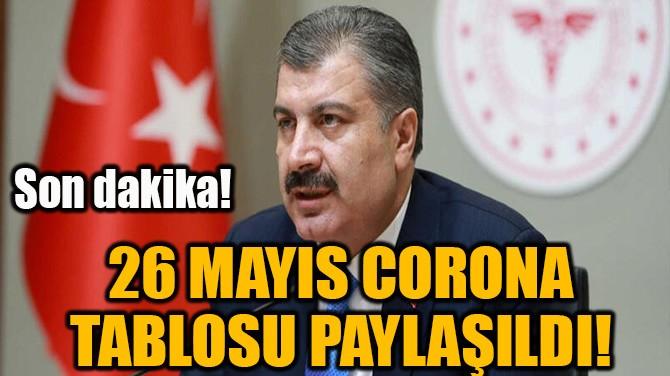 26 MAYIS CORONA TABLOSU PAYLAŞILDI!