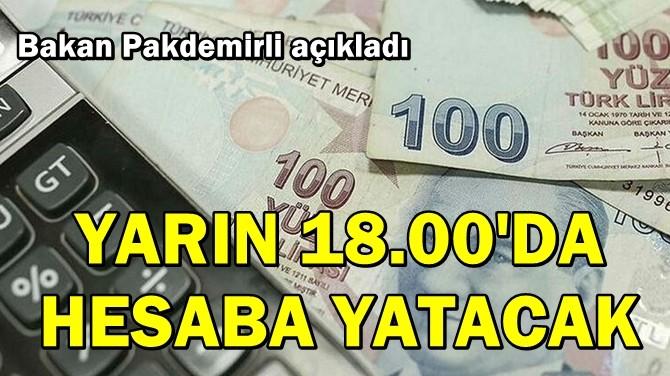 """BAKAN PAKDEMİRLİ AÇIKLADI! """"YARIN SAAT 18.00'DA HESABA YATACAK!"""""""