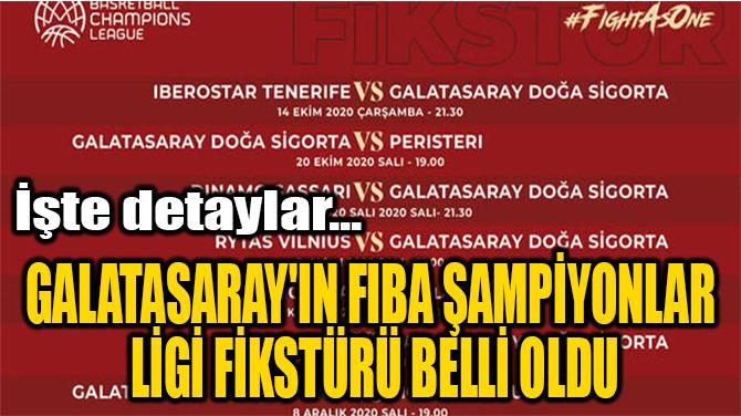 GALATASARAY'IN FIBA ŞAMPİYONLAR  LİGİ FİKSTÜRÜ BELLİ OLDU