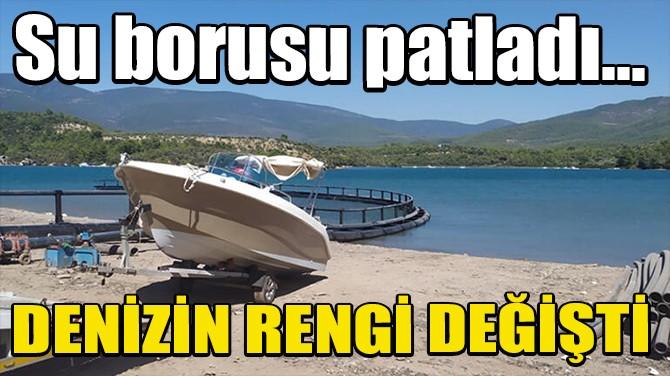 BODRUM'DA SU BORUSU PATLADI, DENİZİN RENGİ DEĞİŞTİ!