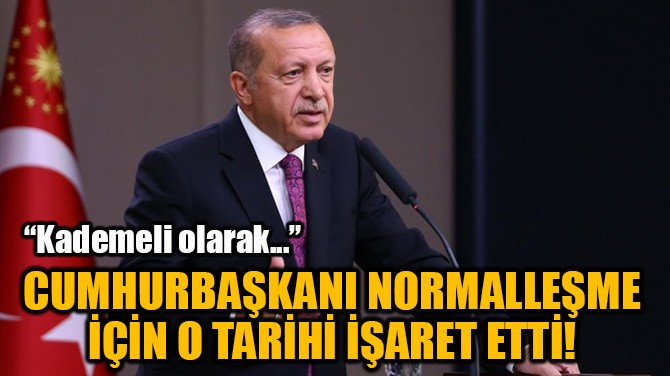 """CUMHURBAŞKANI ERDOĞAN: """"KADEMELİ NORMALLEŞME BAŞLIYOR!"""""""