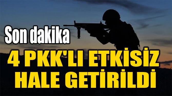 4 PKK'LI ETKİSİZ  HALE GETİRİLDİ