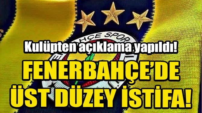 FENERBAHÇE'DE ÜST DÜZEY İSTİFA!