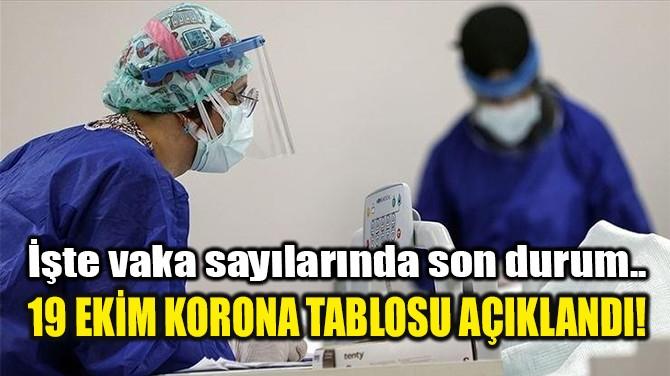 19 EKİM KORONA TABLOSU AÇIKLANDI!